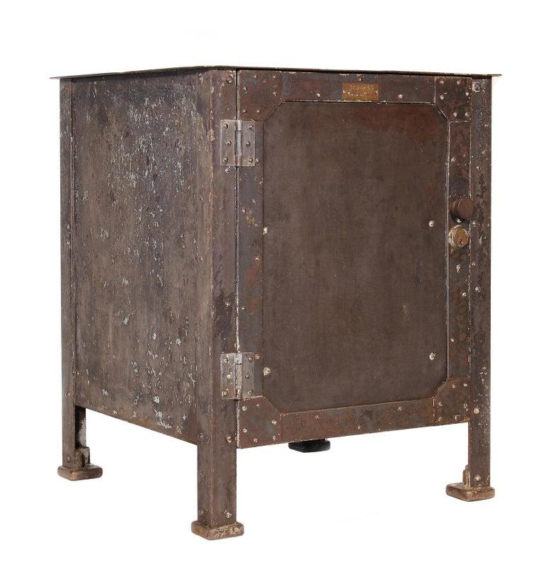 American Pair of Vintage Industrial Bedside Tables / Nightstands For Sale