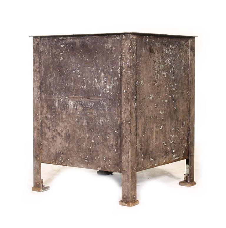 Wood Pair of Vintage Industrial Bedside Tables / Nightstands For Sale