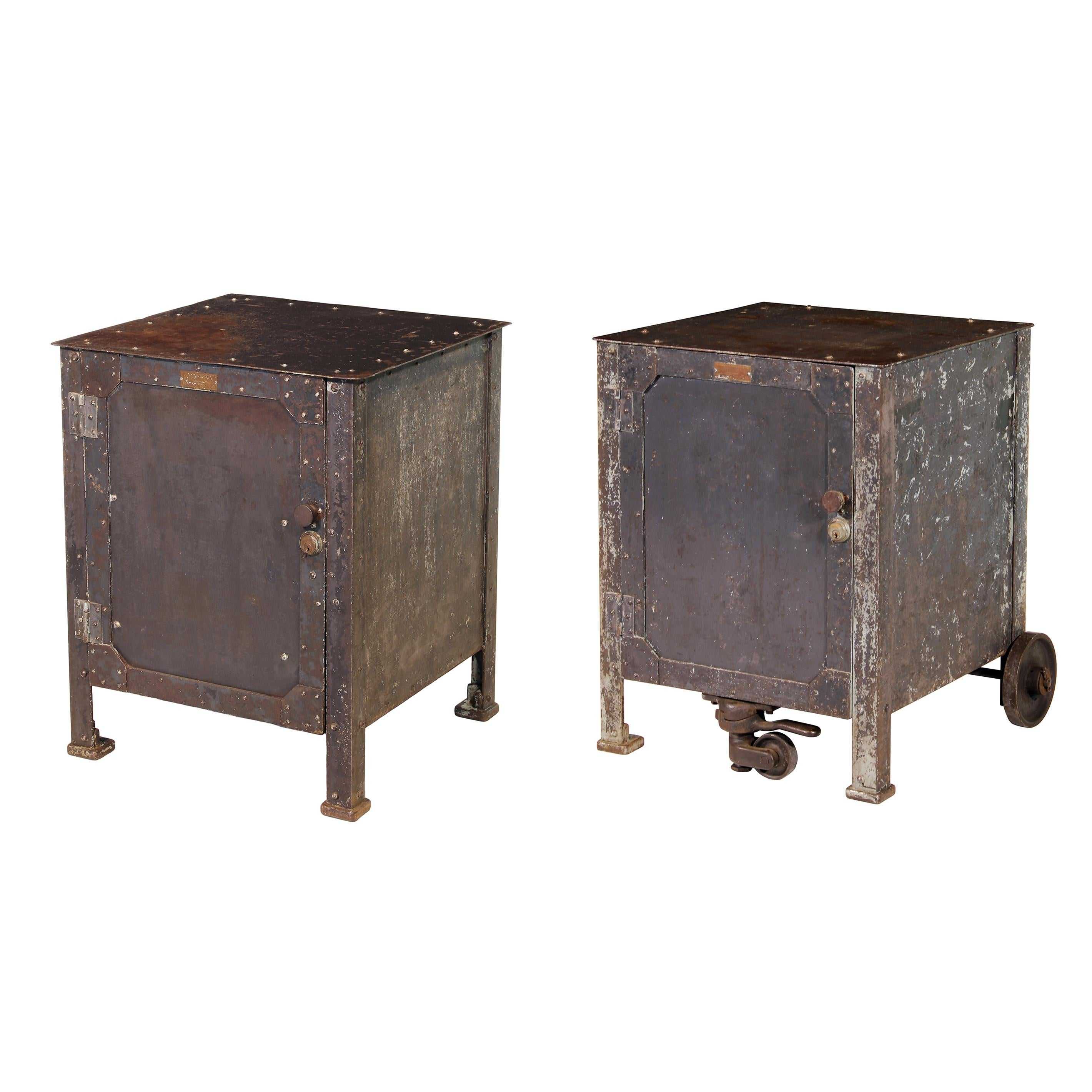 Pair Of Vintage Industrial Bedside Tables Nightstands For Sale At 1stdibs