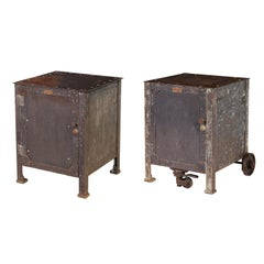 Pair of Vintage Industrial Bedside Tables / Nightstands