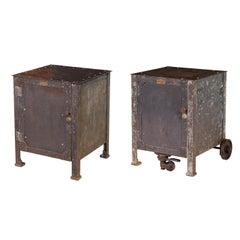 Pair of Vintage Industrial Bedside Tables / Nightstands