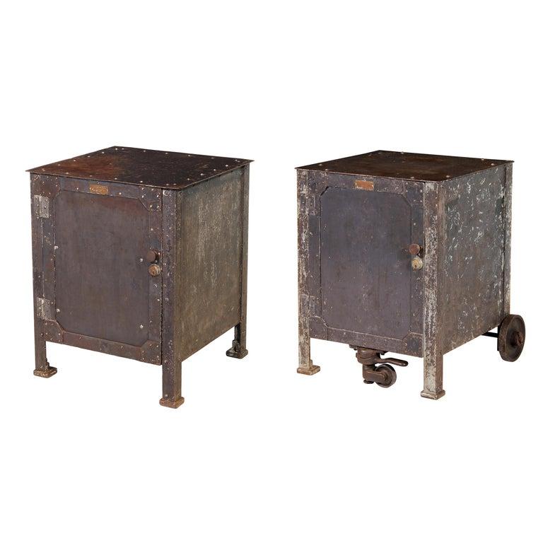 Pair of Vintage Industrial Bedside Tables / Nightstands For Sale