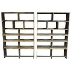 Pair of Vintage Industrial Bookcases from France, circa 1940
