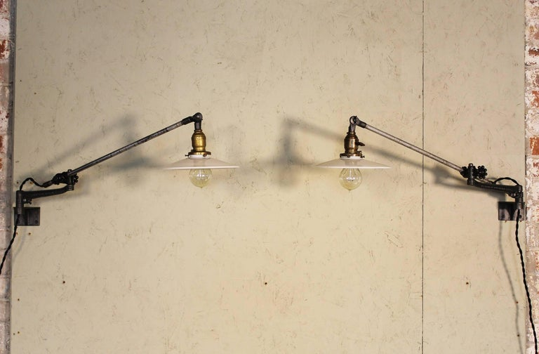 American Pair of Vintage Industrial Milk Glass O.C. White Wall Task Lamps, Lights Edison For Sale