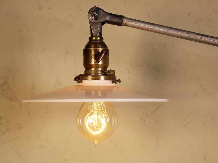 20th Century Pair of Vintage Industrial Milk Glass O.C. White Wall Task Lamps, Lights Edison For Sale