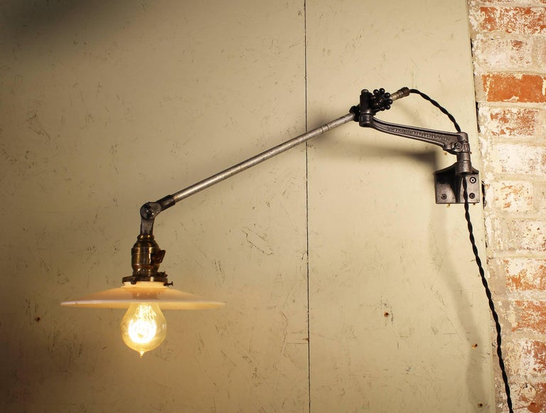 Iron Pair of Vintage Industrial Milk Glass O.C. White Wall Task Lamps, Lights Edison For Sale