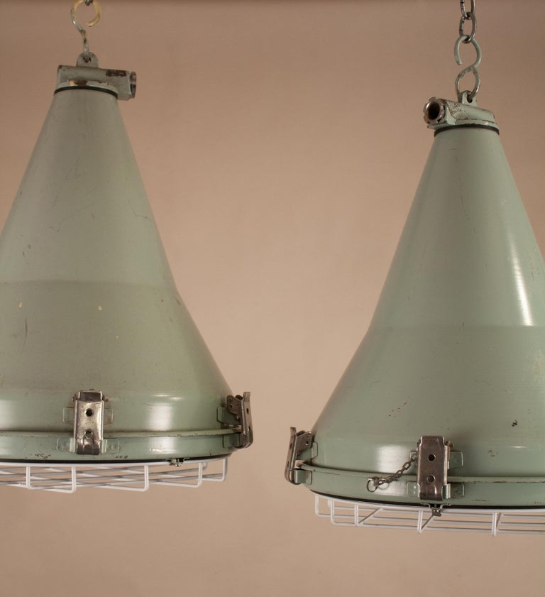 Industrial Pair of Ship's Nautical Painted Pendant Lights For Sale