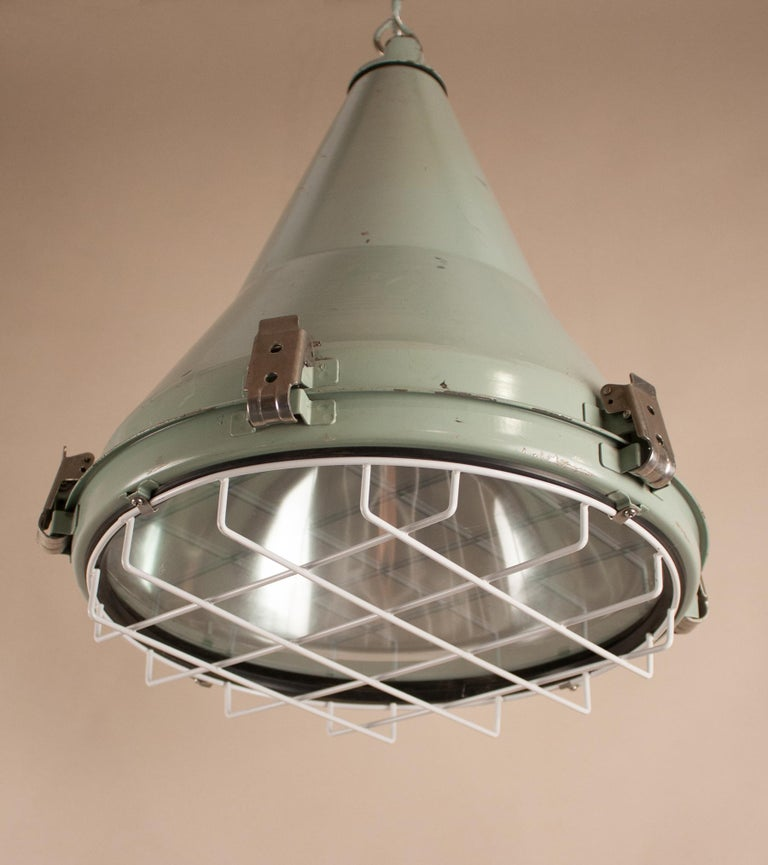 Aluminum Pair of Ship's Nautical Painted Pendant Lights For Sale