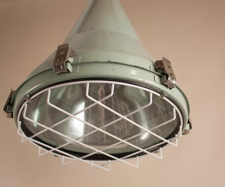 Pair of Ship's Nautical Painted Pendant Lights For Sale 1