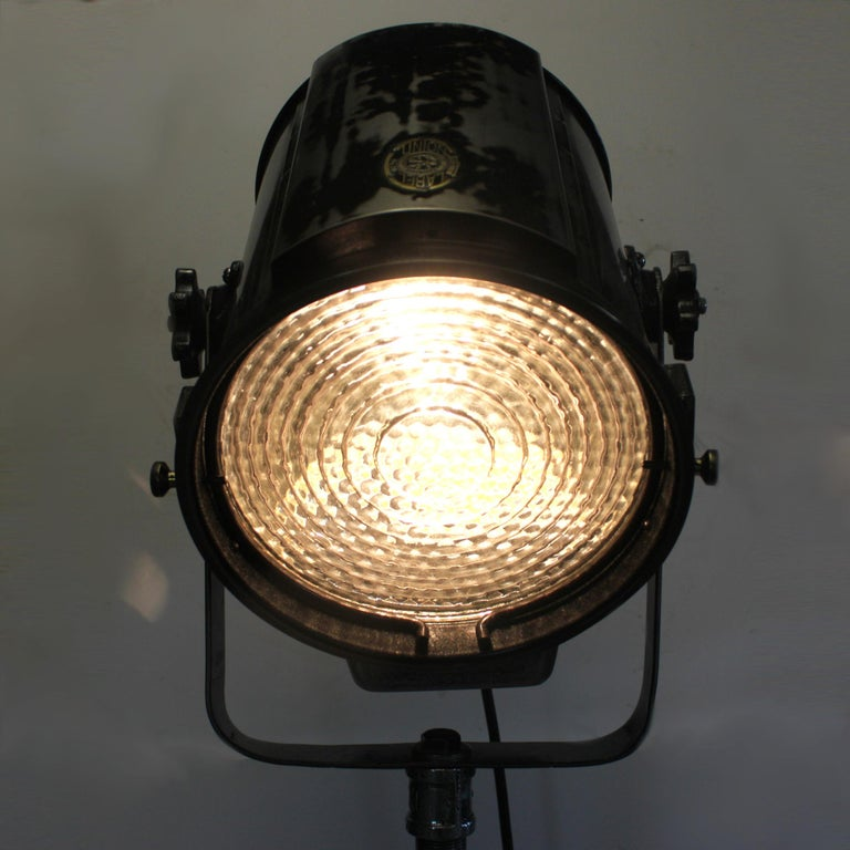 Pair Of Simple Church Lights For Sale: Pair Of Vintage Industrial Stage Light Spotlight Floor