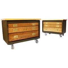Pair of Vintage Industrial WWII Era Aircraft Mechanic's Tool Chest / End Tables