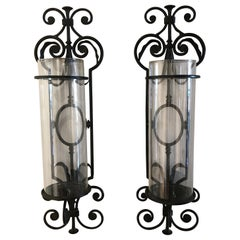 Pair of Vintage Iron and Glass Wall Mounted Hurricanes