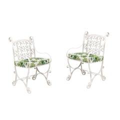 Pair of Vintage Iron Garden Chairs