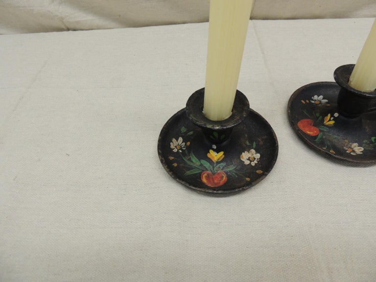 Folk Art Pair of Vintage Iron Hand Painted Candleholders For Sale
