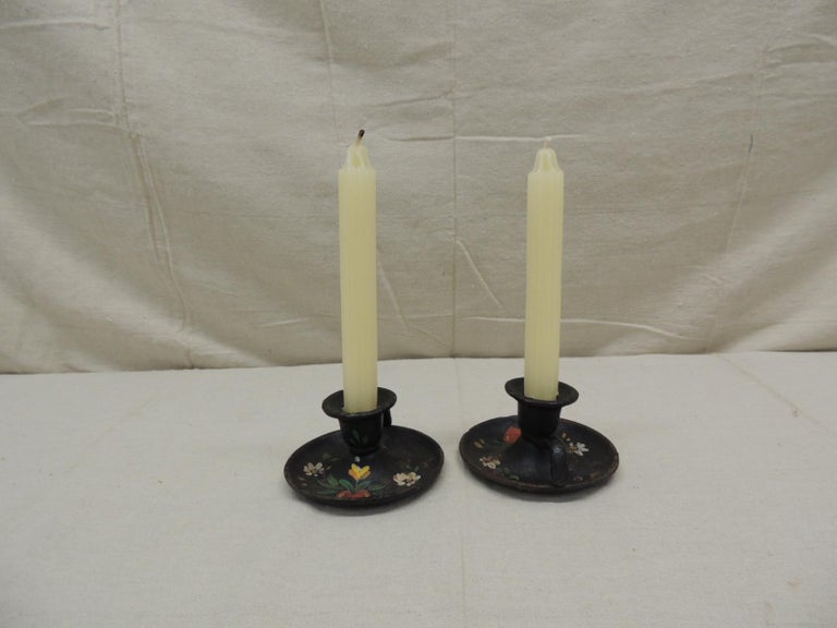 Hand-Crafted Pair of Vintage Iron Hand Painted Candleholders For Sale