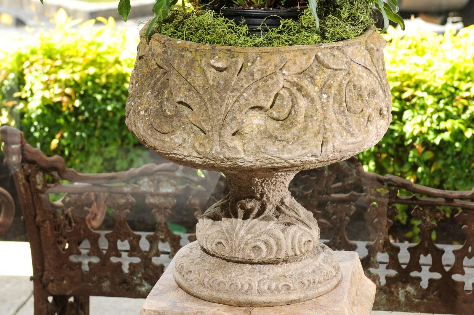 Pair of Vintage Italian 1950s Cast Stone Garden Urns with Scrollwork ...