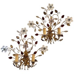 Pair of Vintage Italian and Gilt Metal and Crystal Flower and Leaf Sconces