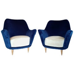 Pair of Vintage Italian Armchairs in Cobalt Blue and Crème