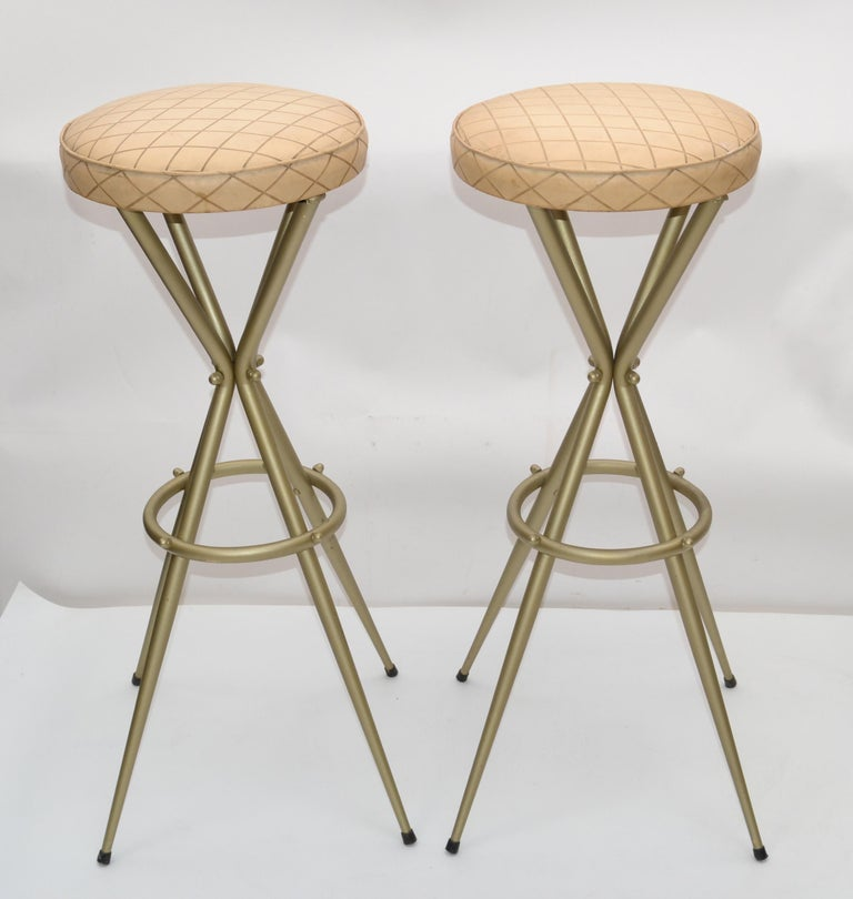 Mid-20th Century Pair of Vintage Italian Gio Ponti Style Bar Stool For Sale