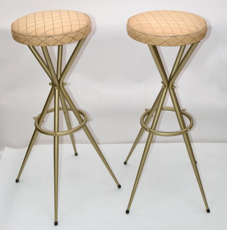 Steel Pair of Vintage Italian Gio Ponti Style Bar Stool For Sale