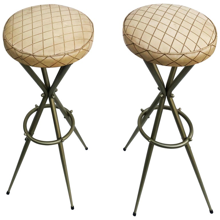 Pair of Vintage Italian Gio Ponti Style Bar Stool For Sale