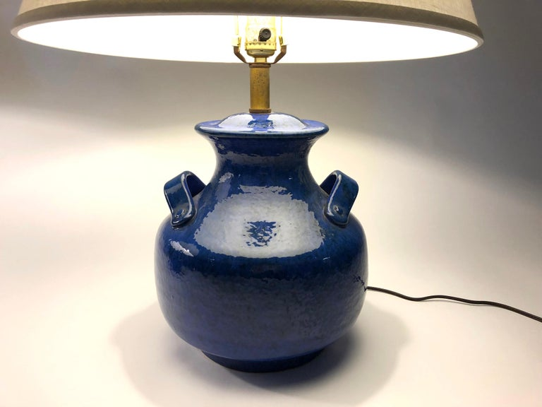 Pair of Vintage Italian Blue Pottery Lamps For Sale 5