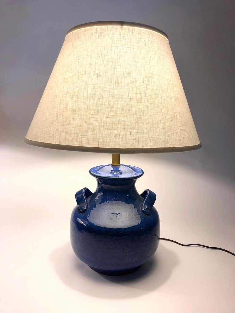 Pair of Vintage Italian Blue Pottery Lamps For Sale 6