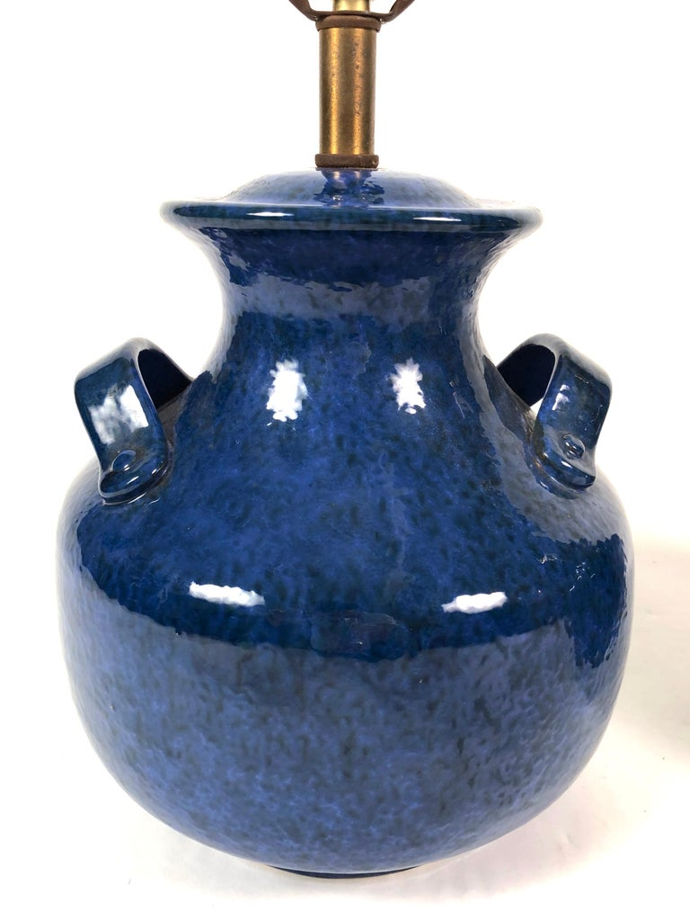 Late 20th Century Pair of Vintage Italian Blue Pottery Lamps For Sale