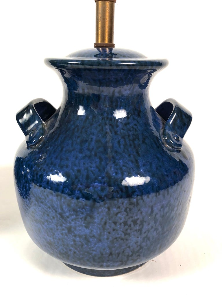 Earthenware Pair of Vintage Italian Blue Pottery Lamps For Sale