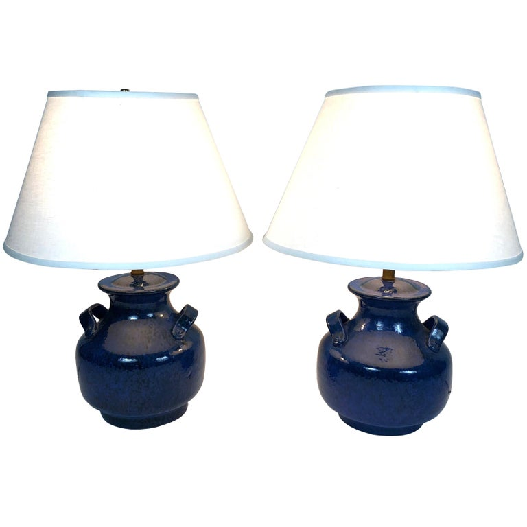 Pair of Vintage Italian Blue Pottery Lamps For Sale