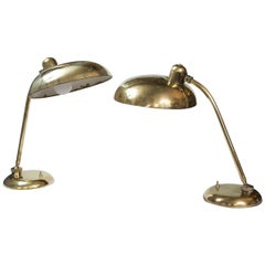 Pair of Mid Century Italian Brass Desk/ Table Lamps
