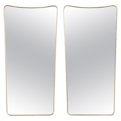 Pair of Vintage Italian Brass Mirrors with Scoop Top