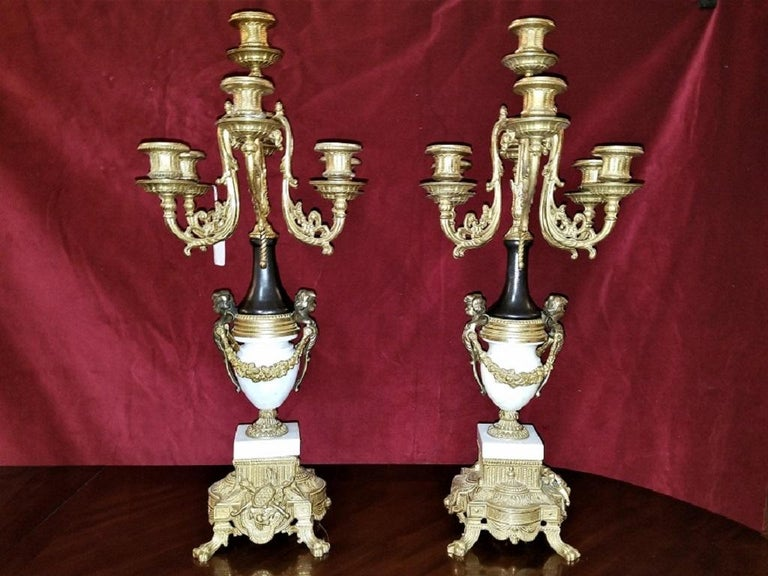Pair Of Vintage Italian Brevettato Marble And Brass Candelabra For Sale At 1stdibs