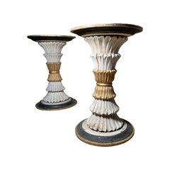 Pair of Vintage Italian Carved Wood Pedestal Table Bases