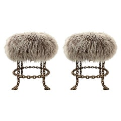 Pair of Vintage Italian Chain Stools with Mongolian Lamb Upholstered Seats