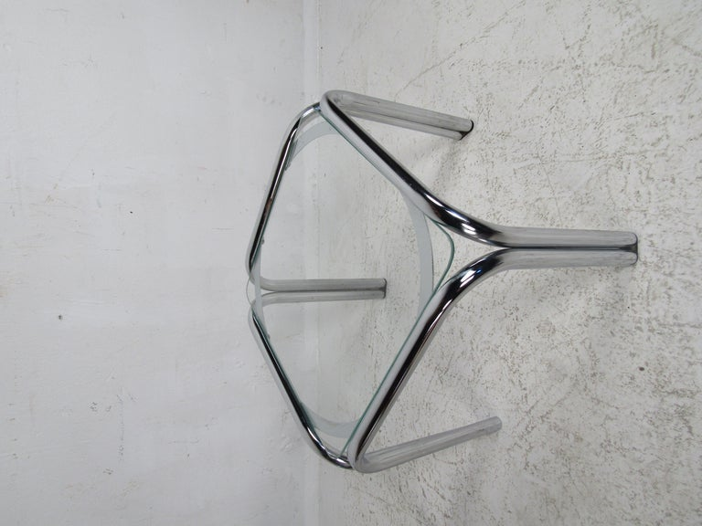 Late 20th Century Pair of Vintage Italian Chrome Side Tables For Sale