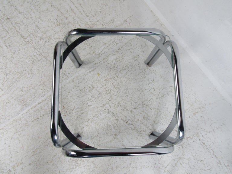 Glass Pair of Vintage Italian Chrome Side Tables For Sale