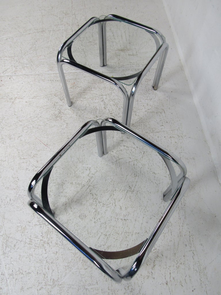 Pair of Vintage Italian Chrome Side Tables For Sale 1
