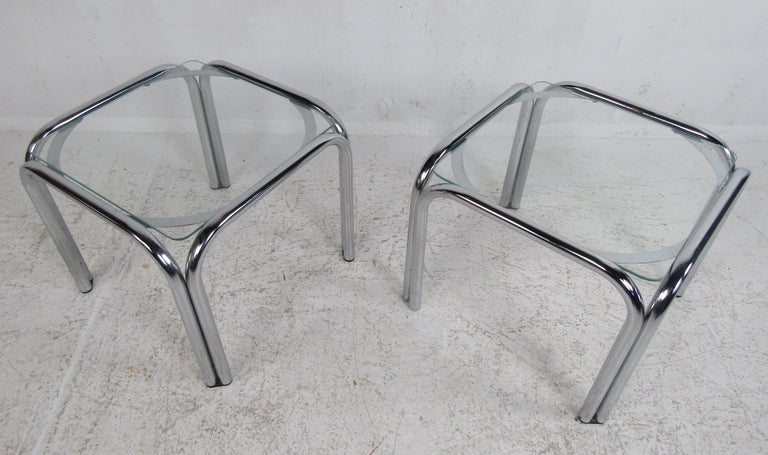 Pair of Vintage Italian Chrome Side Tables For Sale 2
