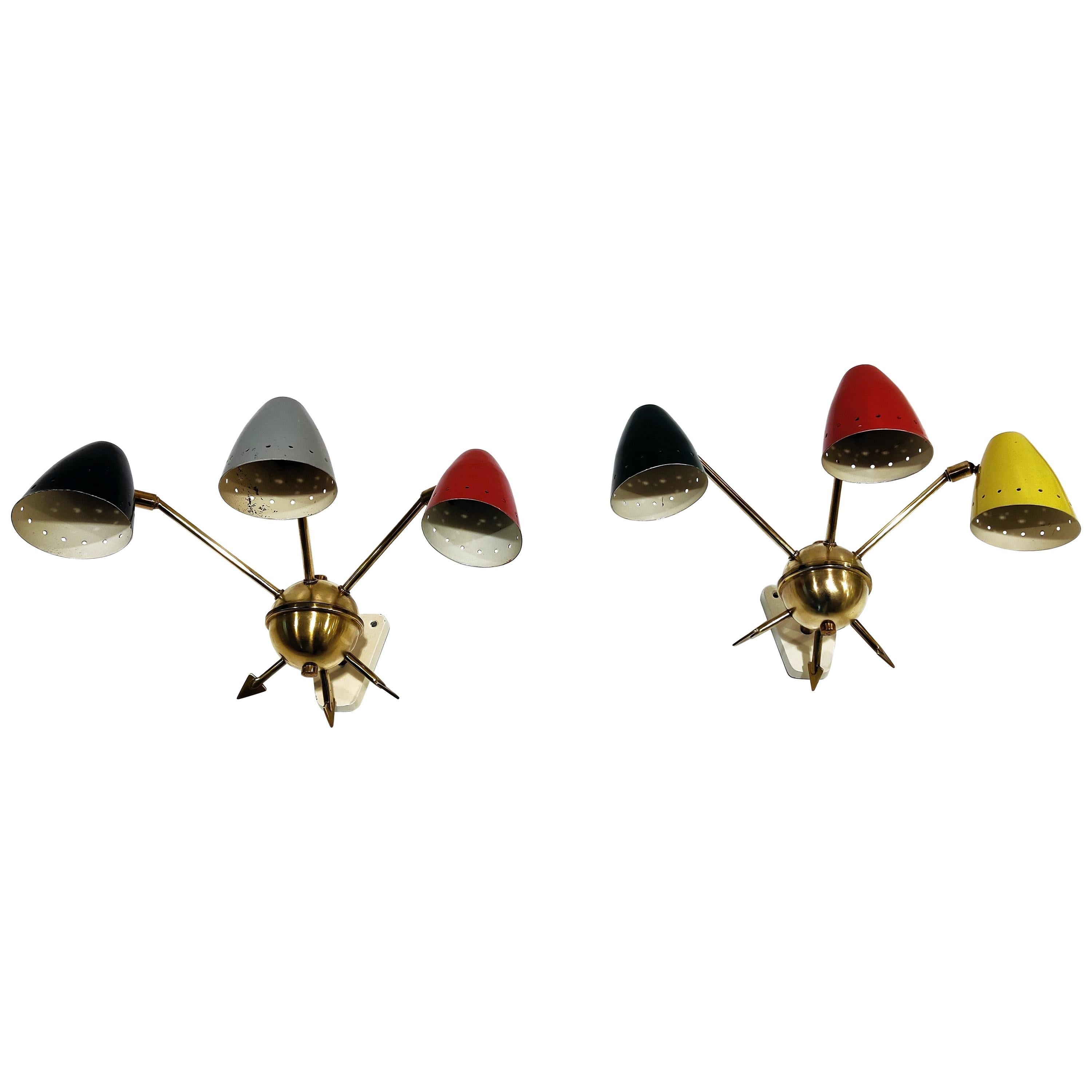 Pair of Vintage Italian Colored Wall Lights, 1950s