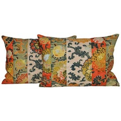 Pair of Vintage Italian Cushions Backed in New Irish Linen Pillows Orange Green