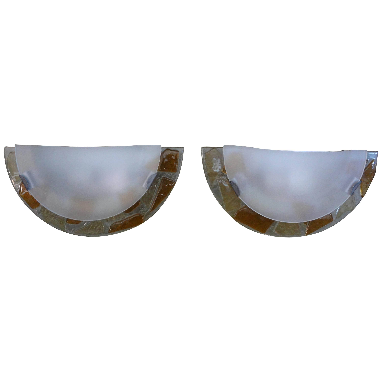 Pair of Vintage Italian Fontana Arte Style Glass Sconces
