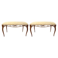 Pair of Vintage Italian Gilt Metal Benches