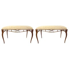 Pair of Vintage Italian Gilt Metal Benches Upholstered in Faux Rabbit