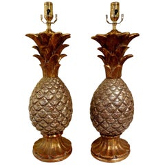 Pair of Vintage Italian Gilt Terracotta Pineapple Lamps
