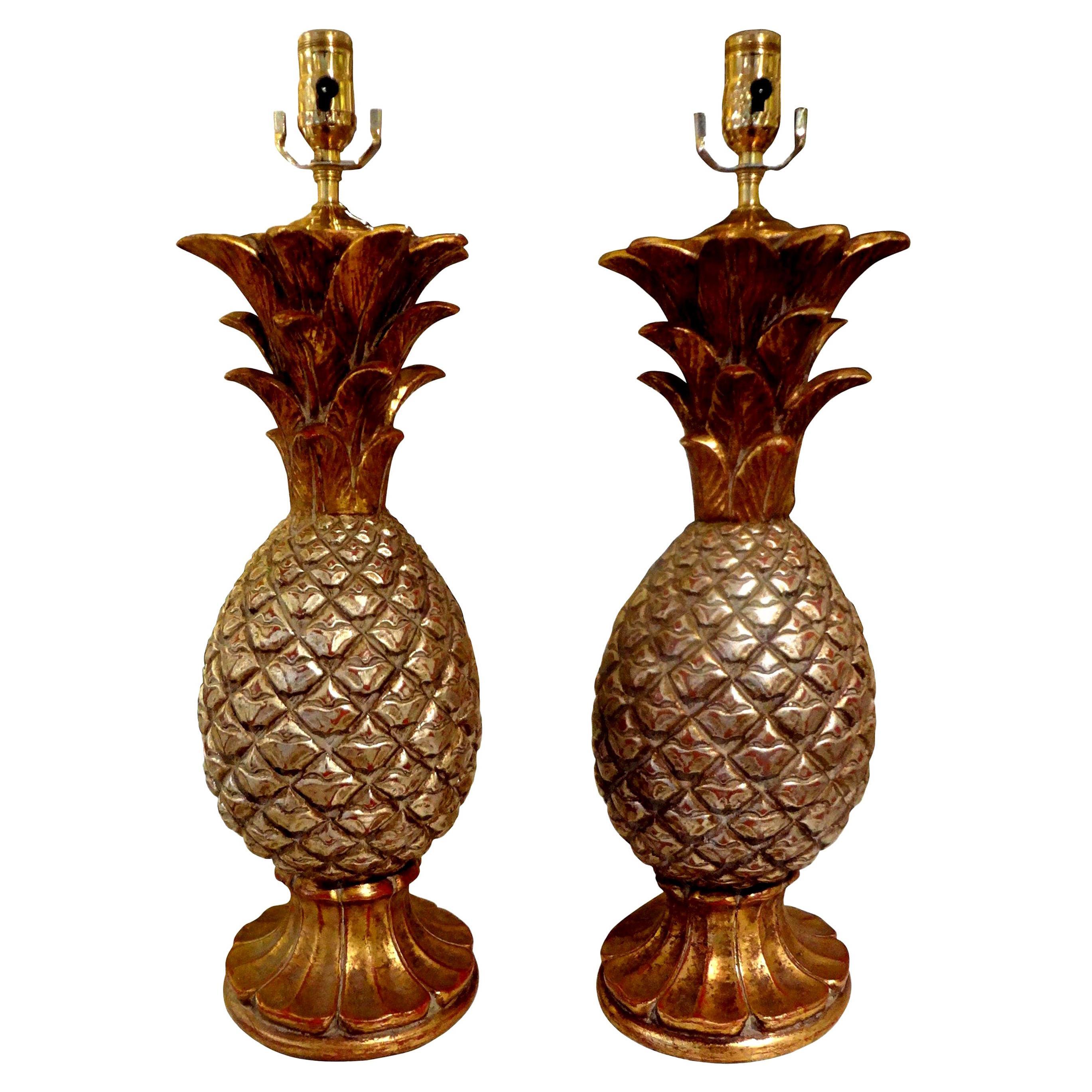 Pair of Vintage Italian Gilt Terracotta Pineapple Lamps
