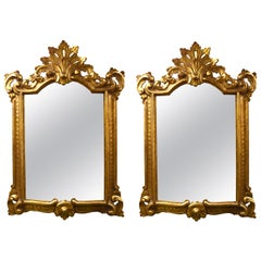 Pair of Vintage Italian Giltwood Mirrors