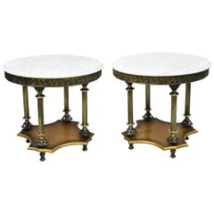 Pair of Vintage Italian Hollywood Regency Round White Marble-Top Side Tables