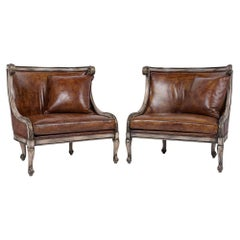 Pair of Vintage Italian Leather Chairs