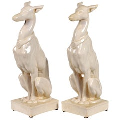 Pair of Vintage Italian Life Size Glazed Terracotta Grayhound Dogs or Whippets